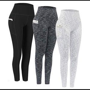 0648 3 Pack High Waist Yoga Pants pocket yoga pant